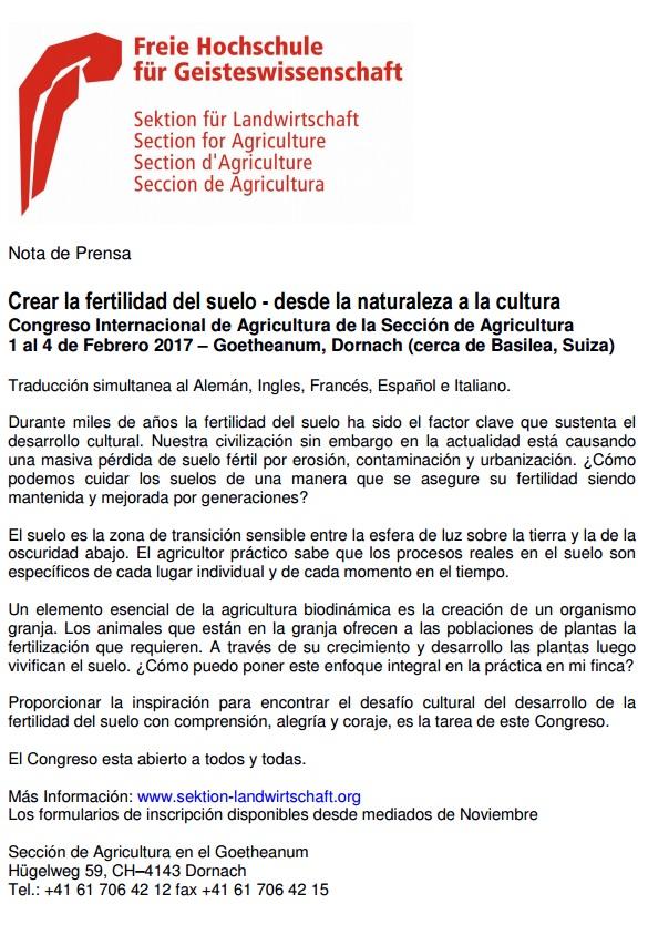 CONGRESO AGRICULTURA BIODINÁMICA @ Sección de Agricultura en el Goetheanum